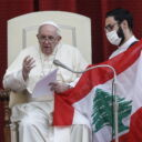 epa08640822 Pope Francis prays for Lebanon during the first general audience to readmit the public since the coronavirus disease in San Damaso courtyard, Vatican, 02 September 2020 EPA/FABIO FRUSTACI